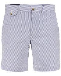 Ralph Lauren Striped Stretch Cotton Bermuda Shorts - Blue