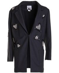 Edward Achour Paris Pinstripe Long Blazer - Black