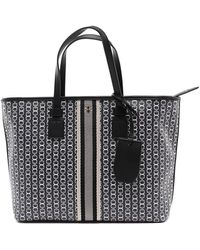 Tory Burch Gemini Link Canvas Small Top-zip Tote - Black