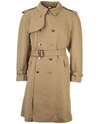 Gucci Wool Trench Coat In Camel Colour - Natural