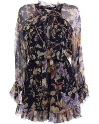 Zimmermann Floral Crepe De Chine Dress - Blue