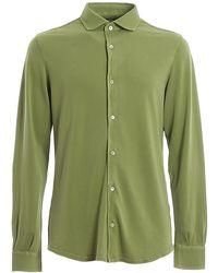 Fedeli Steve Egyptian Cotton Pique Shirt - Green