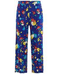 Love Moschino Pantaloni Pop Flowers - Blu
