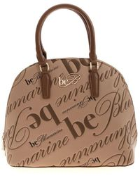 be Blumarine All-over Engraved Logo Handbag In Brown