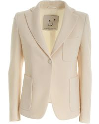 L'Autre Chose Wool Crepe Single-breasted Jacket In Cream Co - Natural