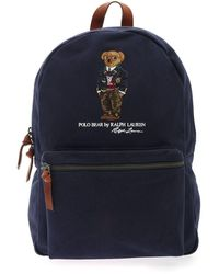 Polo Ralph Lauren Polo Bear Embroidery Backpack In Blue