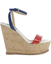 DSquared² Wedge Suede And Leather Sandals - Multicolor