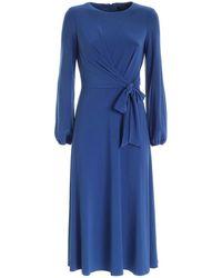 Lauren by Ralph Lauren Bow Dress In Blue