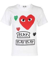COMME DES GARÇONS PLAY - T-shirt con applicazioni Heart - Lyst