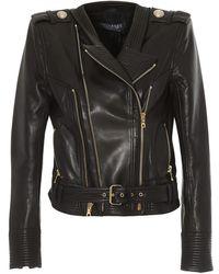 Balmain Golden Button Leather Biker Jacket - Black