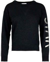 Patrizia Pepe Melange Wool Blend Sweater - Black