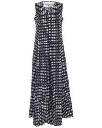 Le Sarte Pettegole Blue Circles Long Dress In White