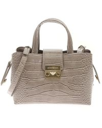 Emporio Armani Croco Print Handbag In Gray