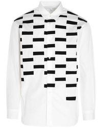 Comme des Garçons - Camicia bianca con stampa astratta - Lyst