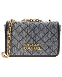 Versace Jeans Couture Logo Denim Shoulder Bag In Blue