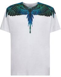Marcelo Burlon Wings Print White Cotton T-shirt