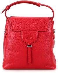 Tod's Joy Mini Red Hammered Leather Bucket Bag