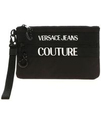 Versace Jeans Couture Rubberized Logo Clutch In Black