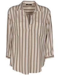 Seventy Striped Blouse In White And Beige - Natural