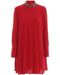 Dondup Embellished Mock Neck Pleated Crepe Dress - Red