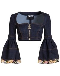 Versace Jeans Couture Denim Cropped Top - Blue