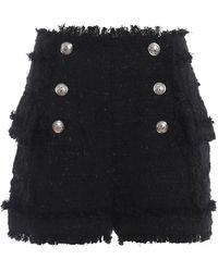 Balmain High Rise Black Tweed Shorts