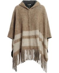Brunello Cucinelli - Wool Blend Fringed Cape - Lyst