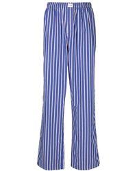 Balenciaga Striped Cotton Pyjamas-style Pants - Blue