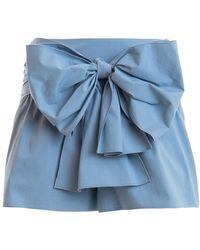 RED Valentino Maxi Bow Poplin Shorts - Blue