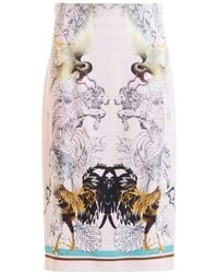 Roberto Cavalli Hybrid Animals Viscose Sheath Skirt - Pink