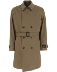 Z Zegna Cotton Blend Trench Coat - Brown