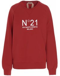 N°21 - Felpa stampa logo a contrasto rossa - Lyst