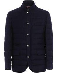 Brunello Cucinelli Melange Flannel Padded Jacket - Blue