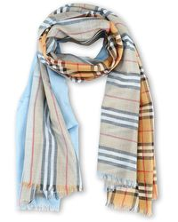 Burberry Vintage And Check Wool And Silk Blend Scarf - Blue