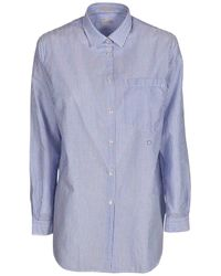 Massimo Alba Striped Shirt In Light Blue And White
