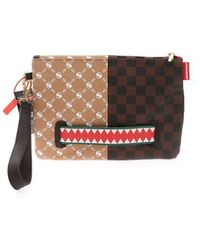 Sprayground - Contrasting Print Clutch Bag In Brown And Bei - Lyst