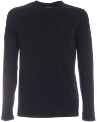 Emporio Armani - Black Long-sleeved T-shirt With Logo - Lyst