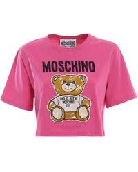 Moschino Teddy Bear Patch Fuchsia Crop T-shirt - Pink