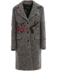 Ermanno Scervino Embroidered Wool Blend Coat - Gray