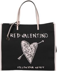 RED Valentino Tote Bag With Raffia Embroidery - Black
