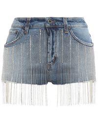Dondup Strass Fringes Denim Shorts - Blue