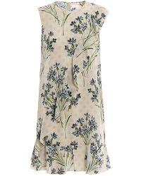 RED Valentino - Ruffle Detail Cornflower Print Silk Dress - Lyst