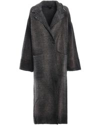 Avant Toi Chevron Patterned Wool Blend Maxi Coat - Gray