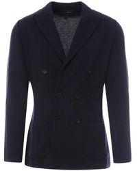 Lardini Wool Double-breasted Blazer - Blue