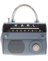 Karl Lagerfeld Borsa KIkon Radio Mini azzurra - Blu