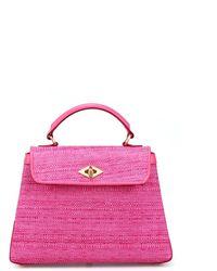 Ballantyne Diamond Straw Effect Fabric Small Bag - Pink