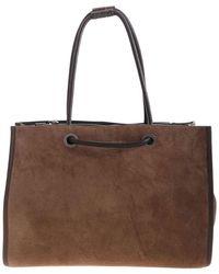 Brunello Cucinelli Suede Shoulder Bag In Brown - Natural