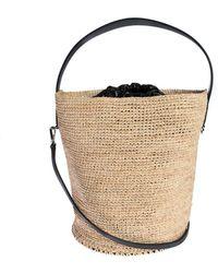 Jil Sander Raffia Bucket Bag With Leather Lining - Natural