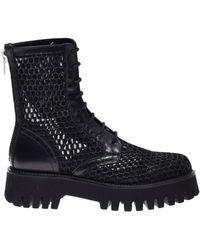 Casadei Mesh Combat Boots - Black