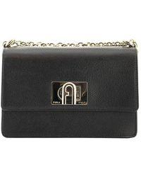Furla 1927 Mini Leather Satchel Bag - Black